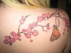 Dessin fleur de cerisier et papillon
