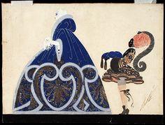 "Costume & Sketch for Ganna Walska as Manon Lescaut in ""Manon""  Erté & Redfern  1920"