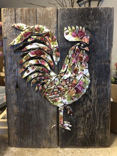 """Rooster made from broken """"Old Country Roses"""" plates!  I love working with broken pottery!"""