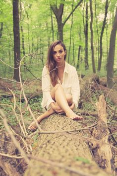 Beautiful girl in the forest, wearing only a white shirt | Model: Caressa, Photographer: Ruben Maas