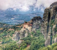 Rousanou Meteora (Greece) - This monastery was built in the 16th century on top of a natural large pillar. It is 1 of the 6 monastries built like this called Meteora, which means 'middle of the sky'. -  Want to discover more hidden gems in Europe? All of them can be found on www.mapiac.com