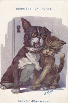 Dog and Cat- Derriere La Porte- Artist A. Wuyts- 1920s Vintage French Postcard- Unused