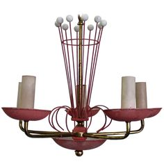Mid Century Modern French Fuscia 5 Light Chandelier   From a unique collection of antique and modern chandeliers and pendants  at http://www.1stdibs.com/furniture/lighting/chandeliers-pendant-lights/