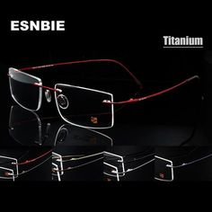 7ec263866f ESNBIE Computer Rimless Titanium Glasses Frame men Memory Eyeglass Frames 7  Colors Square Shape Prescription Eyewear