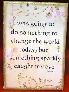 """""""I was going to do something to change the world today, but something #sparkly caught my eye"""""""