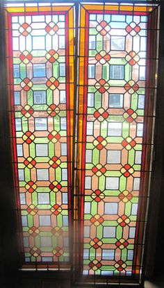 Pair of Antique Stained Glass Door Windows w Geometric Pattern Stained Glass Door, Bedroom Doors, Closet Doors, Windows, Antiques, Pattern, Ebay, Home Decor, Antiquities