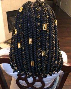 Chunky Shoulder Length Box Braids With Gold Accessories # short Braids twist Hai. - - Chunky Shoulder Length Box Braids With Gold Accessories # short Braids twist Hair Jewelry for Box Braids Short Box Braids Hairstyles, Black Girl Braided Hairstyles, African Braids Hairstyles, Short Braids, Protective Hairstyles, Protective Styles, African Braids Styles, Bob Braids, Natural Hair Braids