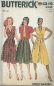 An unused ca. 1970's to 1980's Butterick Pattern 4319.  Misses' Dress, Culotte Dress, Jacket & Belt - Loose-fitting lined jacket with purchased shoulder pads has front button and loop closing, standing collar and short sleeves.  Fitted and flared dress or culotte dress five inches below mid-knee has mock wrap effect bodice with bias binding, pleated and elasticized waist and back zipper closing.  Belt has self or contrast trim.  Topstitching.