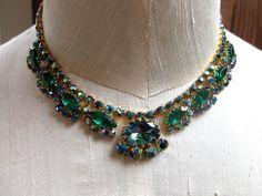 Vintage Rhinestone Necklace Emerald Green Sapphire by Vanityfare, $42.00