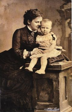 Queen Emma and her daughter Wilhelmina, the Netherlands. Ca. 1882 when Emma was 22 and Wilhelmina 2 years old.  Image from   http://www.refdag.nl/ (Reformatorisch Dagblad)