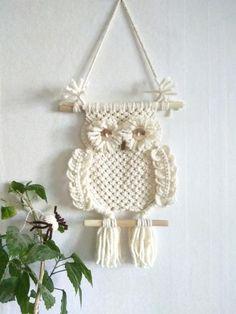 Owl Wall hangings Macrame,Wall decor Art handmade Boho,Owl white ivory figurine,gifts birthday baby,Dreamcatcher,decor nursery,kids,animals