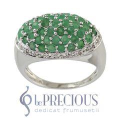 Inel argint cu smaralde si topaze albe - www.beprecious.ro Topaz