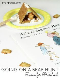 Going on a Bear Hunt Snack for Preschool. A fun snack for preschool or kindergarten kids to make to go along with the contemporary classic, Going on a Bear Hunt.
