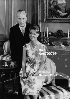 STOCKHOLM, SWEDEN - MAI 17: Princess Birgitta of Sweden and her fiance Prince Johann of Hohenzollern at the Royal Palace on May 17, 1961 in Stockholm, Sweden