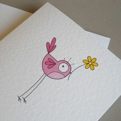 pink bird greetings card Little black heart Bird Drawings, Doodle Drawings, Easy Drawings, Doodle Art, Bird Doodle, Pink Bird, Flower Doodles, Cute Birds, Watercolor Cards