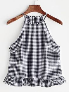 Gingham Buttoned Keyhole Back Frill Halter Top Shop Gingham Buttoned Keyhole Back Frill Halter Top online. SheIn offers Gingham Buttoned Keyhole Back Frill Halter Top & more to fit your fashionable needs. Halter Tops, Cami Tops, Summer Outfits, Cute Outfits, Mode Top, Look Chic, Diy Clothes, Blouse Designs, Gingham
