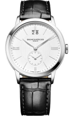 A #SwissMade quartz watch for men, the #Classima 10218 comes with dual time and big date functions, and is delivered on a black alligator bracelet. #baumeetmercier @baumeetmercier