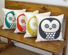i like these owl pillows, particularly the teal