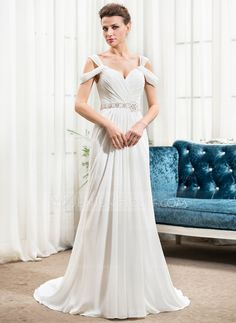A-Line/Princess Off-the-Shoulder Court Train Chiffon Wedding Dress With Ruffle Beading Sequins (002056243)