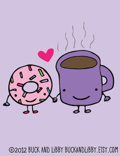 Donut Loves Coffee Frameable Illustration Print by by BuckAndLibby, $10.00