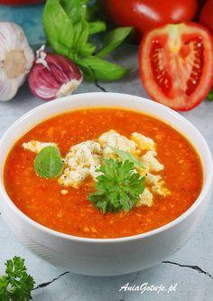 Krem z pomidorów. Polish Recipes, Polish Food, Cream Soup, Ricotta, Cheddar, Tofu, Thai Red Curry, Nom Nom, Ethnic Recipes