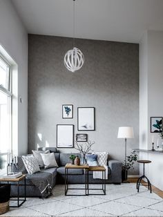 Scandinavian Living Room Design Idea with grey sofa, modern coffee table and framed wall art