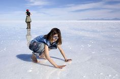 Salar de Uyuni, is the largest salt lake in the world, it is located in southwest Bolivia.