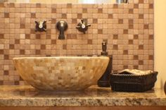 backsplash · bowl · brown · cabinet · cherry · counter top · faucet · glass tile · granite · mosaic · oil rubbed bronze · sink · stain · tile · travertine · vessel · wall mount · warm Granite Bathroom, Bathroom Renos, Bathroom Ideas, Bathrooms, Brown Cabinets, Travertine, Powder Room, Backsplash, Faucet