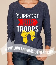 Support our troops navy slouch long sleeve top - Love & War Clothing