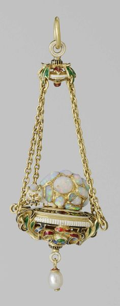 A Renaissance gold, enamel, opal and pearl pendant, German, 1600-1620. The…