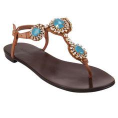 Rasteira Tan/Turquesa de Couro com Pedraria - Shoestock