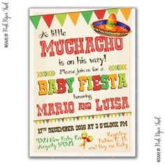 Fiesta Party Invitation, Boy Party, Baby Shower, Little Muchacho, I Will  Customize For You, Printable Invitation