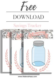 Pink Mason Jar Savings Tracker for Planner Insert - Printable in A5 MM Personal Happy Planner and Bullet Journal www.MalenaHaas.com