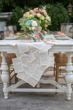Peach and Teal Vintage Book Themed Wedding Inspiration