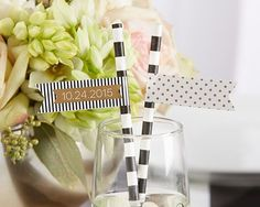 Personalized Party Straw Flags-Classic Dots