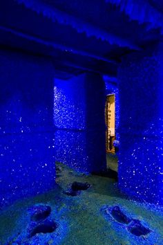 claudiablonde:  These are images from Seizure an installation by London-based artist Roger Hiorns. Hiorns covered the walls of an abandoned apartment with plastic and chicken wire pumped eighty-seven thousand liters of copper sulfate into the space and left. Months later, the remaining liquid was pumped back out of the flat, leaving shimmering surfaces of brilliant blue crystals throughout the installation. Mineral is Chalcanthite.  I went to this installation and it was amazing.