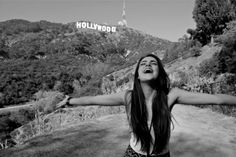 Black and white Hollywood girl arms spread Elizabeth Gillies, California Love, California Travel, Hollywood Sign, Just Girly Things, Lovely Things, City Of Angels, Favim, Personal Photo