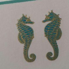 Seahorses engraved by Grosvenor Stationery Company
