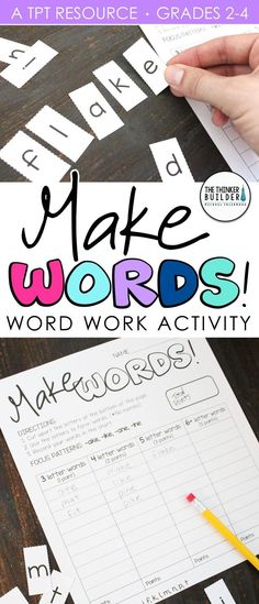 Make Words! Word Work - Word Study Activity An engaging, hands-on word work activity! Pre Writing, Teaching Writing, Writing Skills, Teaching Ideas, Student Teaching, Teaching Tools, Teaching Resources, Word Study Activities, Spelling Activities