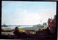 Nicolino Calyo (American (born Italy), 1799–1884). View of the City of New York and the Marine Hospital Taken from Wallabout. The Metropolitan Museum of Art, New York. The Edward W. C. Arnold Collection of New York Prints, Maps, and Pictures, Bequest of Edward W. C. Arnold, 1954 (54.90.148) #newyork #nyc