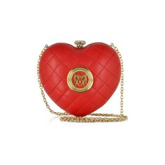 Love Moschino Handbags Red Quilted Eco Leather Heart Clutch ($210) ❤ liked on Polyvore featuring bags, handbags, clutches, red, man bag, red handbags, evening purse, quilted purse and red clutches