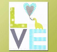 Aqua and grey, LOVE Nursery Art Print, Kids Room Decor, Baby / Children Wall Art - LOVE, green, dinosaur nursery. $14.95, via Etsy.