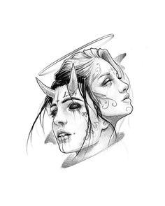 Yin-Yang - Angel and Demon - . - Yin-Yang – angel and demon – - Dark Art Drawings, Tattoo Design Drawings, Pencil Art Drawings, Art Drawings Sketches, Tattoo Sketches, Art Sketches, Demon Drawings, Kunst Tattoos, Bild Tattoos