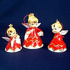 Lefton 1956 Naughty Sisters Baby Christmas Angel Bell Figurines Set. Click on the image for more information.