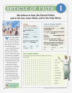Happy Clean Living: Primary 5 lesson MANY Article of Faith helps and worksheets. Sunday Activities, Primary Activities, Activities For Girls, Church Activities, Fhe Lessons, Primary Lessons, Activity Day Girls, Activity Days, Activity Sheets