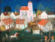 Pekary Istvan (Hungarian, 1905-1981): Dorfleben im Sommer, 1968.