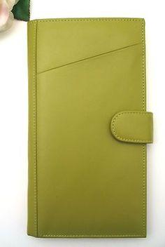 ILI GREEN LEATHER PASSPORT TRAVEL WALLET TICKET HOLDER ~ BOARDING PASS CASE