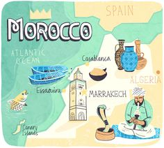 Map of Morocco - Patrick O'Leary Illustration Marrakech, Morocco Travel, Morocco Map, City Map Poster, Pictorial Maps, Tourist Map, Around The World In 80 Days, Travel Illustration, Map Design