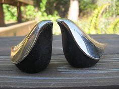 Vtg Joyas Design Salt & Pepper Shaker Set Birds Black Silver New ...