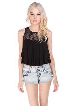 Lace Insert Sleeveless Tiered Top